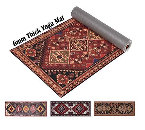 Ananda Premium Print Yoga Mat Non Slip 6mm Extra Thick Anti Tear for Men & Women – All-Purpose Exercise Mat for Yoga…