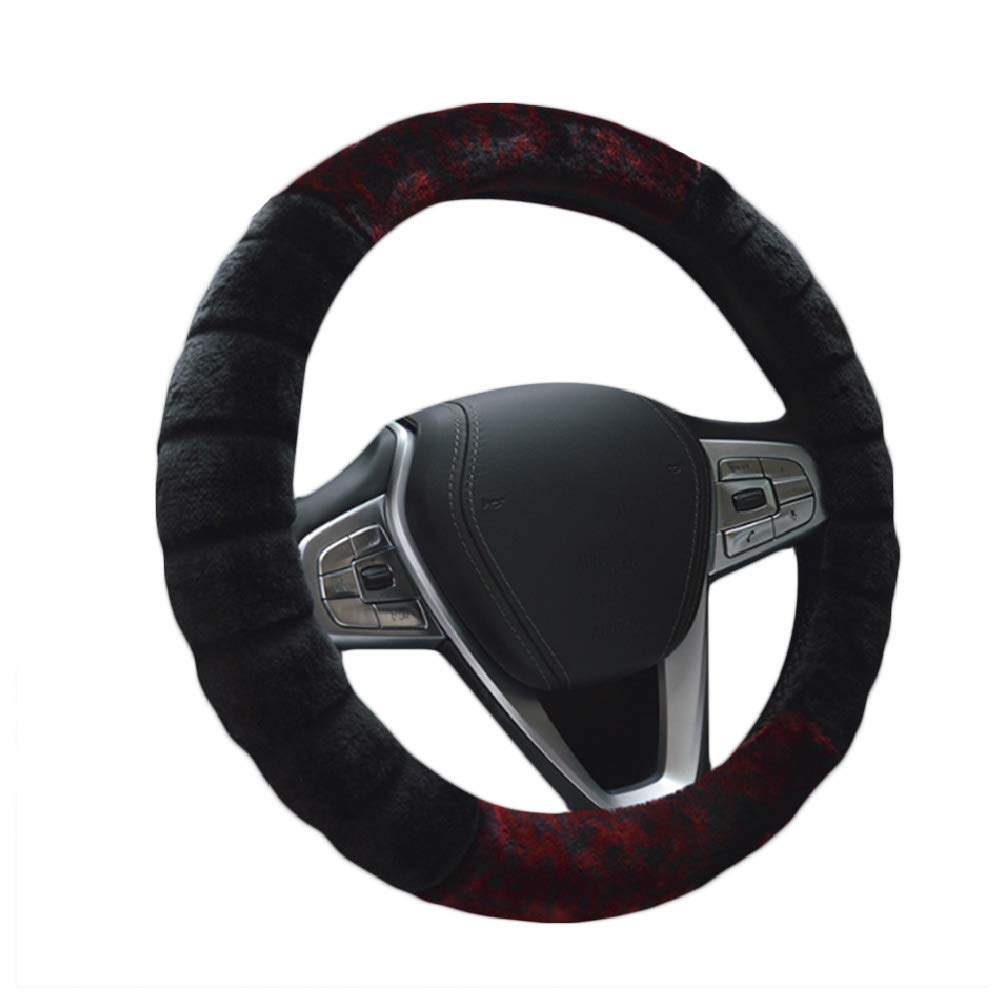 FRFJY Car Interior Universal 15 Steering Wheel Cover Fleece Warm Keeping Fluffy Cover