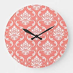 TattyaKoushi 15 by 15-inch Wooden Wall Clock, Coral Pink White Classic Damask Pattern Large Clock for Kitchen Bedroom Living Room Home Office Décor