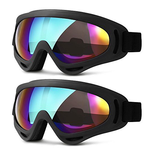HEETA Ski Goggles, Updated Snowboard Goggles for Kids Men Women Boys & Girls UV 400 Protection Windproof Anti-Glare Goggles for Skiing Snowmobile Motorcycle Bicycle (Multicolor and Multicolor)