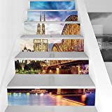 Stair Stickers Wall Stickers,6 PCS Self-adhesive,Cityscape,Illuminated Dom in Cologne Old Bridge and Rhine at Sunset European Culture Print,Multi,Stair Riser Decal for Living Room, Hall, Kids Room Dec