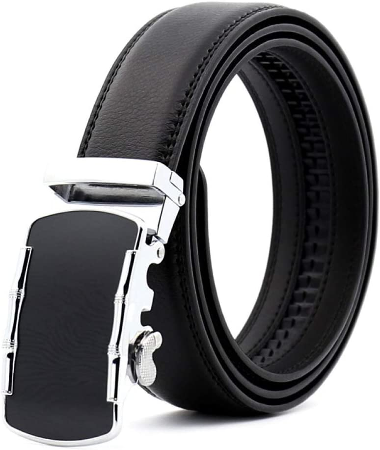 DENGDAI Mens Leather Belt Automatic Buckle Belt Length 100-135cm