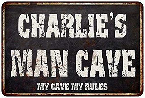 HarrodxBOX Charlie's Man Cave Black Grunge Sign Novelty Aluminum Metal Sign Post Wall Decoration for Men