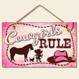 New Little Cowgirls Rule Sign Pink Plaque Western Cowboy Hat Horse Rope Decor
