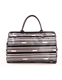 SENLI Waterproof 25 litres Duffle travel bag tote Carry-On gym Purse Work Handbags for Women Short Term Trips Bohemia style(grey strip)