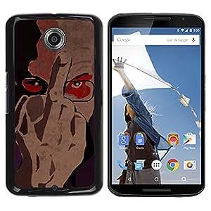 Qstar Arte & diseño plástico duro Fundas Cover Cubre Hard Case Cover para Motorola NEXUS 6 / X / Moto X Pro ( Fuck You Sign Finger Man Portrait Glasses Art)