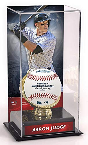 - Sports Memorabilia Aaron Judge New York Yankees Sublimated Display Case with Gold Glove Holder - Baseball Free Standing Display Cases