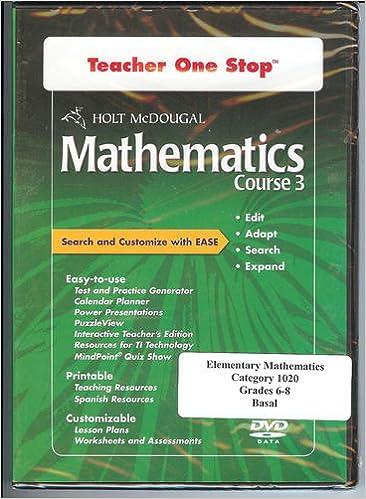 Teacher One Stop DVD-ROM, Holt McDougal Mathematics Course 3 (Holt ...