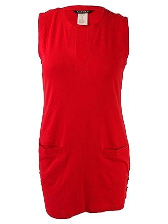 de5865107b0cf Lauren Ralph Lauren Women's Button Tunic Cover-Up Red/Orange Swimsuit Top