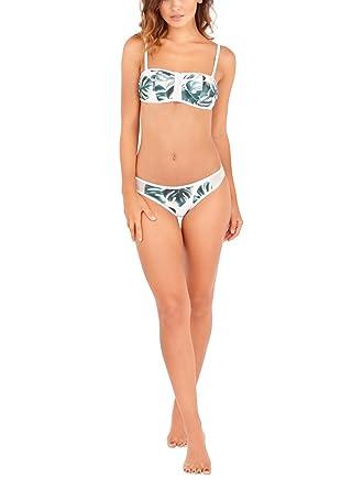 98d3179c1769a Bandeau Bikini Set by South Beach | Tropical Palm Leaf Print Bikini with  Matching Mesh-