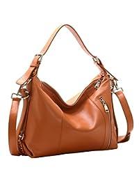 Heshe Large Capacity Womens Leather Handbags Vintage Shoulder Bags for Ladies Totes Purse Crossbody Satchel Bag