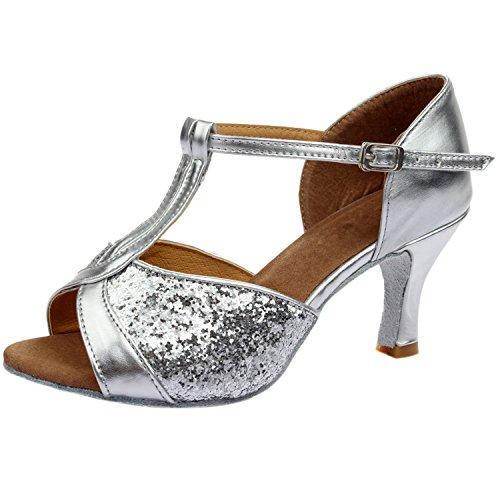 Azbro Mujer Zapato de Baile Latín Lentejuelas de Alto Tacón con Puntera Abierta Plateado