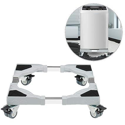 per Base Lavadora contra Vibración Soporte Ajustable Universal para Lavadora y Refrigerador Base con Ruedas de