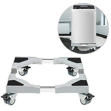 per Base Lavadora contra Vibración Soporte Ajustable Universal para Lavadora y Refrigerador Base con Ruedas de Acero Inoxidable y PP para Electrodoméstico ...