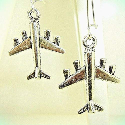 3-D Figural Jet AIRPLANE Silver-tone Drop Dangle Earrings 2