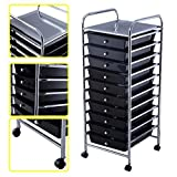 KAYSEV 10 Drawer Rolling Storage Organizer Cart, Multi-Purpose Scrapbook Paper Office School Utility Organizer Rainbow, Tray Drawer Black
