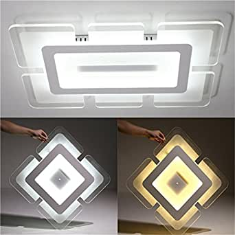 28W 4242cm Acrylic Squarer Modern Ceiling Light Mounted Fixture for Home Living Room Decor AC220V (Light Color Warm White)