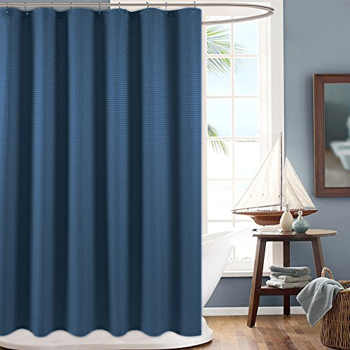 Solid Color Fabric Shower Curtain - jinchan Shower Curtain for Bathroom Waterproof Waffle Woven Textured with Rust-Resistant Metal Grommets Top Fabric Shower Curtain 70 x 72, Royal Blue