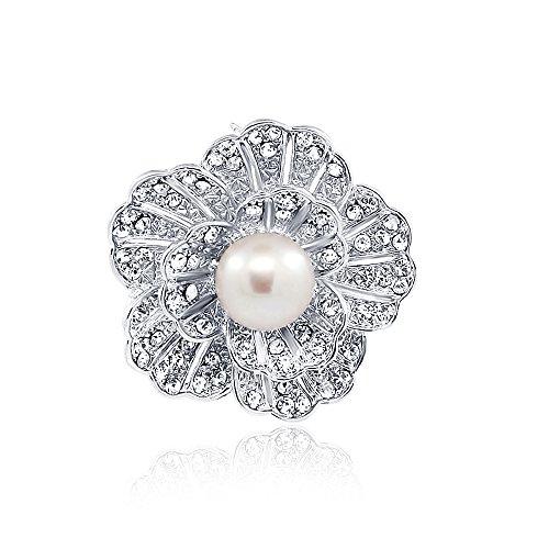 pearlpro Femme Lavande Perle Broche fleur strass