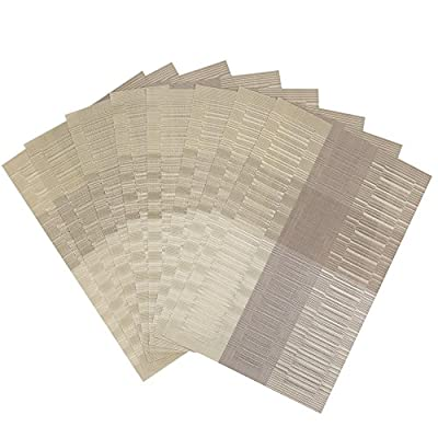 "Top Fine Eco-friendly Colorful Rectangle Bamboo Plastic Place Mats for Dining Table 12"" By 18"""