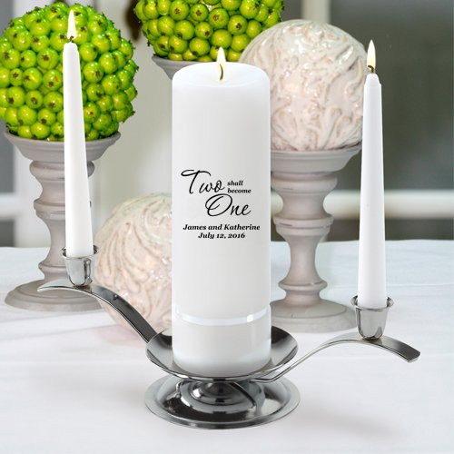 Personalized Unity Wedding Candle - Personalized Wedding Candle - Includes Stand - Two Shall Become One (Two One Become Unity Candle)