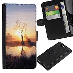 Billetera de Cuero Caso del tirón Titular de la tarjeta Carcasa Funda del zurriago para Sony Xperia Z1 Compact D5503 / Business Style Sunset Beautiful Nature 59