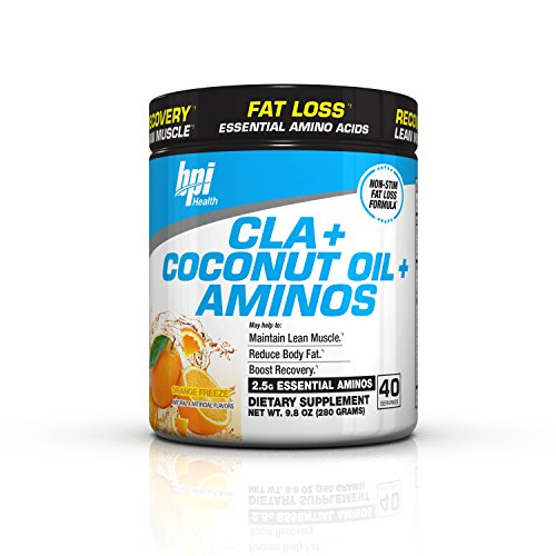 BPI Sports Cla + Coconut Oil + Aminos Non Stimulant Fat Loss Supplement Powder, Orange Freeze, 9.8 Ounce