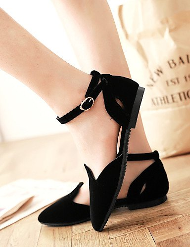 sintética negro punta rojo PDX eu44 zapatos carrera uk10 de black aire oficina de y piel plano Pisos casual Toe us12 mujer talón cn46 al azul libre 8XnnURg