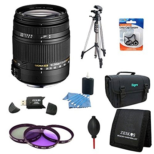 Sigma 18-250mm F3.5-6.3 DC Macro OS HSM Lens for Canon EOS Rebel T6s T6i T5 T5i Includes Bonus Xit 60'' Full Size Photo / Video Tripod, and More by Sigma