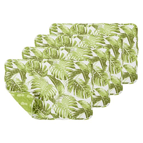 Nantucket Home Reversible Palm Leaves and Pineapples Quilted Placemats, Set of 4