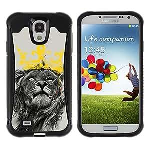 ZAKO Cases / Samsung Galaxy S4 I9500 / King Lion / Robusto Prueba de choques Caso Billetera cubierta Shell Armor Funda Case Cover Slim Armor
