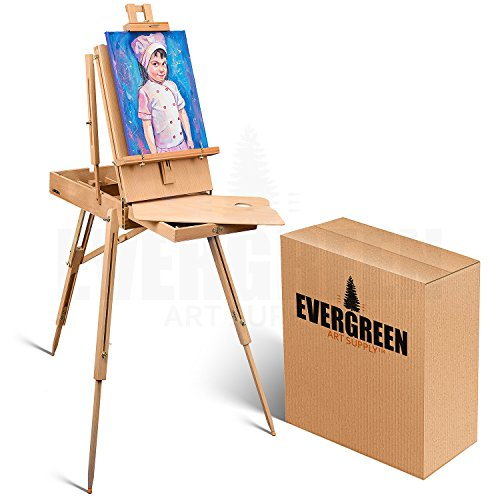 Portable Art Easel for Painting and Drawing - Professional Studio Quality, Adjustable, French Style Wooden Artist Easel with Storage Drawer Sketchbox - Indoor Outdoor Field Easel for Adults by Evergreen Art Supply