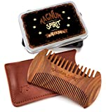 Travel Beard Comb & 100% Leather Sleeve & Metal Gift Box - Sandalwood Handmade Wide & Fine Tooth - No Tangle No Snag - Anti-Static & Natural Smell - Unique Design - Also Works for Hair/Mustache