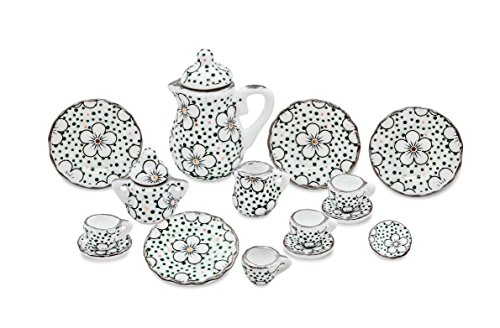 17pcs Dollhouse Miniatures Teapot Set - 1/12 Scales Teapot,Sugar,Creamer,Lids,Cups,Saucers and plates
