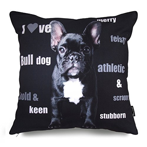 Phantoscope Dog Series Cotton Decorative Throw Pillow Case Cushion Cover Bulldog 18