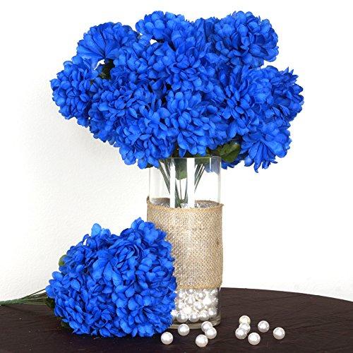 BalsaCircle 56 Royal Blue Silk Chrysanthemums - 4 Bushes - Artificial Flowers Wedding Party Centerpieces Arrangements Bouquets Supplies