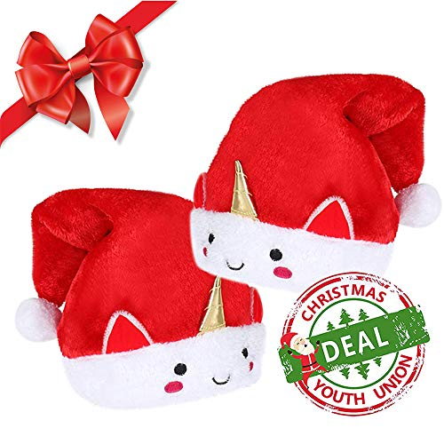 YOUTH UNION Unicorn Christmas Hat Santa Hat with Red Velvet Comfort Liner Fit for Childrens and Adults (2 Pack)