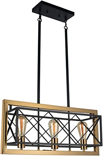 Baiwaiz Modern Luxury Dining Room Chandelier Light Fixture, Black Metal Industrial Kitchen Island Lighting with Antique Gold Plated Frame Rectangle Cage Chandelier Pendant Light 3 Light Edison E26 116
