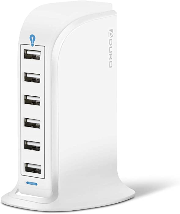 Aduro 40W 6-Port USB Desktop Charging Station Hub Wall Charger for iPhone iPad Tablets Smartphones with Smart Flow (Solid White)