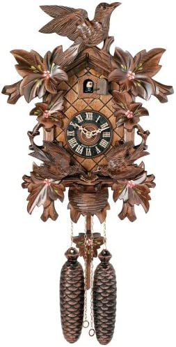 River City Clocks Eight Day Cuckoo Clock with Hand-Painted Flowers, Leaves, and Animated Birds Feeding Baby Birds – 16 Inches Tall – Model 815-16P