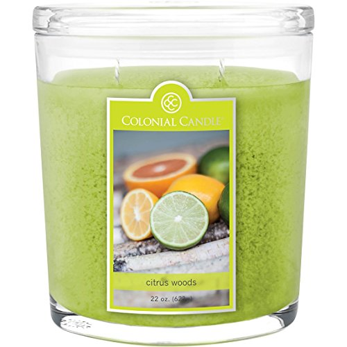 Citrus Woods Collection Large Oval Jar Colonial Candle, 22 oz