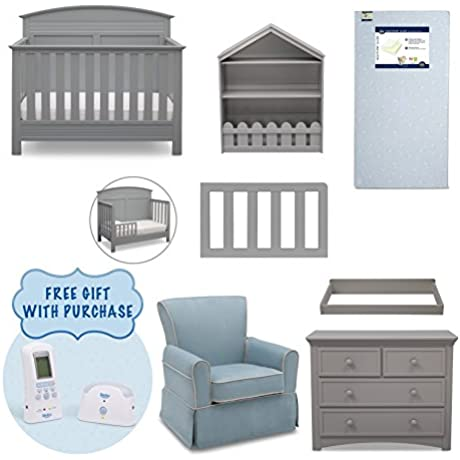 Serta Ashland 7 Piece Nursery Furniture Set With FREE Baby Monitor Ships Separately Convertible Crib Toddler Rail 4 Drawer Dresser Changing Top Bookcase Crib Mattress And Glider Grey