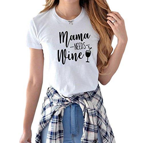 Shirt Les White pour imprim Manches de Courtes vin Mama Lettre Femmes a Tops Besoin Mama T qc7S4TwF1