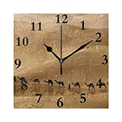 Rod Whitehead Modern Wall Clock, Camel in Desert Silent Non-Ticking Quartz Decorative Battery Operated Wall Clock for Living Room Home Office School Square Shape 8 inch
