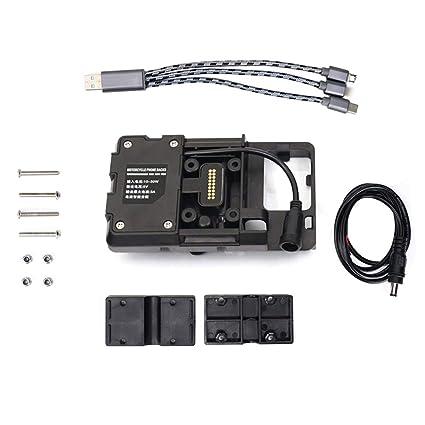 KKmoon Soporte Navegador Moto, Soporte de Moto para Teléfonos Móviles con Cargador USB adecuado para R1200GS LC&Adventure S1000XR R1200RS