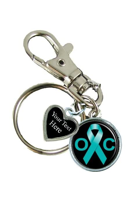 Amazon Com Holly Road Ovarian Cancer Awareness Ribbon Silver Key Chain Choose Your Text Sports Outdoors