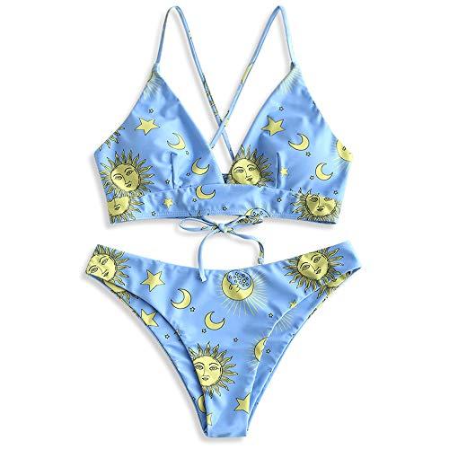Sun And Moon Halloween (ZAFUL Women's Spaghetti Straps Sun and Moon Lace Up Two Pieces Bikini Set (Multi-C,)