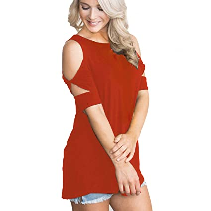 0b920eba6c7 Image Unavailable. Image not available for. Color: Women's Shorts Sleeve  Casual Cold Shoulder Tunic Tops ...
