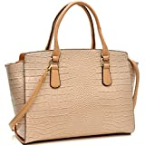 Dasein Women's Designer Wings Satchel Handbag Shoulder Bag Work Briefcase Tote w/ Removable Shoulder Strap,3190-140850 Beige Without Wallet