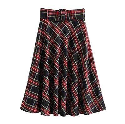 Comaba Women's Vintage Scotland Plaid Midi Flared A-Line Skirt